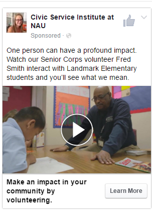 Screenshot of Senior Corps ad