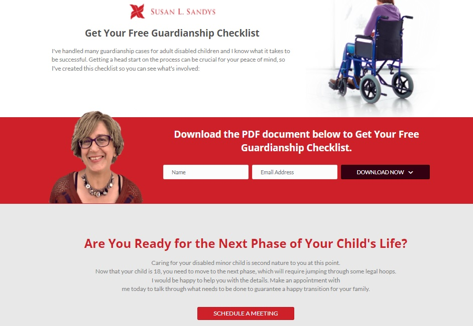 Screenshot of Susan Sandys adult guardianship landing page