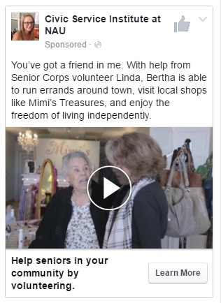 Screenshot of Facebook Senior Corps ad
