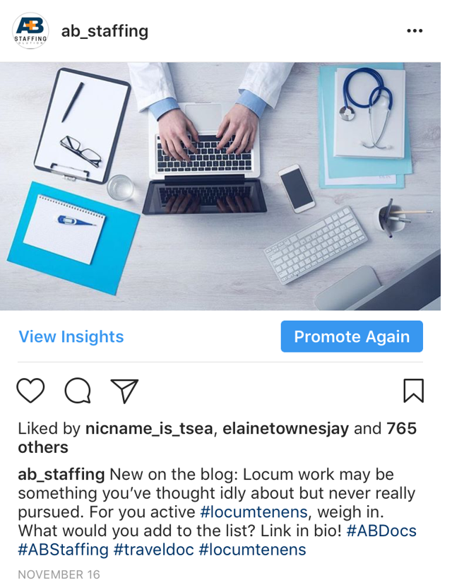 AB Staffing locum blog Instagram results